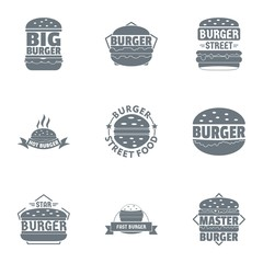 Big burger logo set. Simple set of 9 big burger vector logo for web isolated on white background