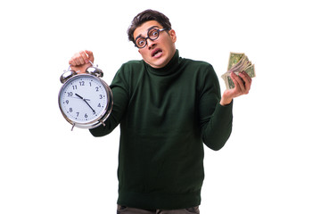 Nerd young man with clock and money isolated on white