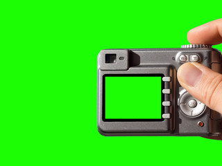 photography concept photo. man taking a photo, with green blank screen