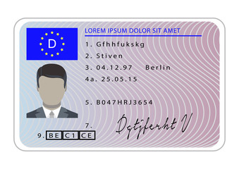 Germany driver license card. Cartoon of germany driver license card vector for web design isolated on white background