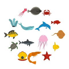 Sea animals icons set in flat style isolated vector illustration