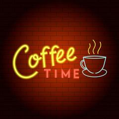 Coffee time logo neon light icon. Realistic illustration of coffee time logo neon light vector icon for web design