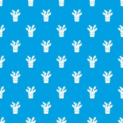 Prickly pear pattern vector seamless blue repeat for any use