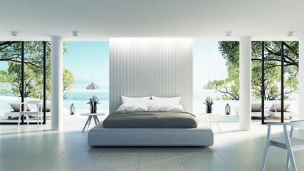 Beach bedroom interior - Modern & Luxury vacation / 3D render image