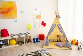 Modern room interior with play tent for child Wall mural