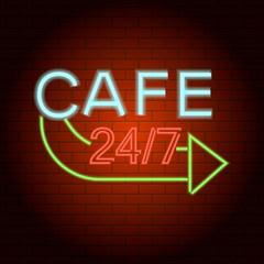 Cafe logo neon light icon. Realistic illustration of cafe logo neon light vector icon for web design