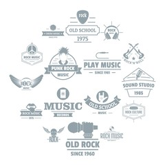 Rock music logo icons set. Simple illustration of 16 rock music logo vector icons for web