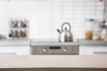 Countertop and blurred view of kitchen interior. Idea for home design