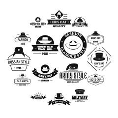 Headdress hat logo icons set. Simple illustration of 16 headdress hat logo vector icons for web