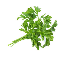 Fresh green parsley on white background, top view