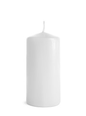 New pillar wax candle on white background