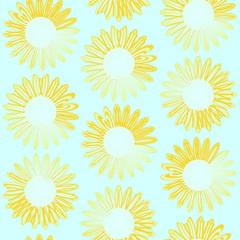 ひまわり シームレスパターン 黄青