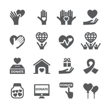 Charity icon set