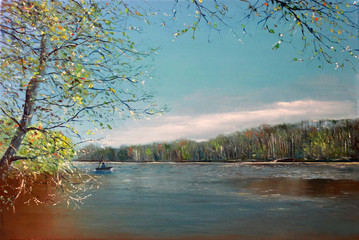 Fisherman on a boat in early spring. Painting. Landscape by the river. Oil painting river in Europe.