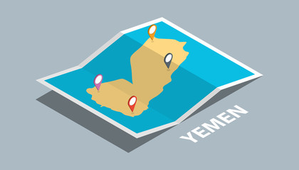 explore yemen maps with isometric style and pin marker location tag on top