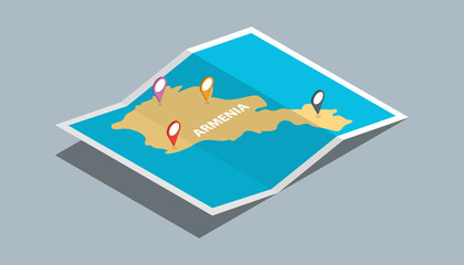 explore armenia maps with isometric style and pin marker location tag on top