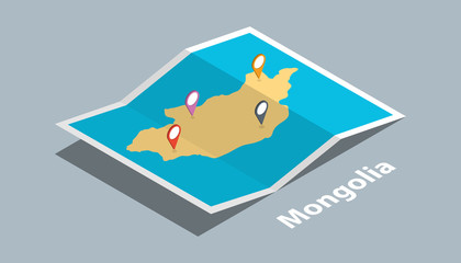 explore mongolia maps with isometric style and pin marker location tag on top