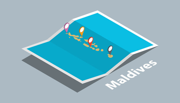 explore maldives maps with isometric style and pin marker location tag on top