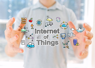 Internet of Things with young man holding his hands
