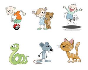 Six children's characters