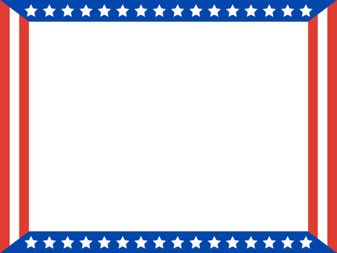 American flag Patriotic frame with empty space for your text or images.