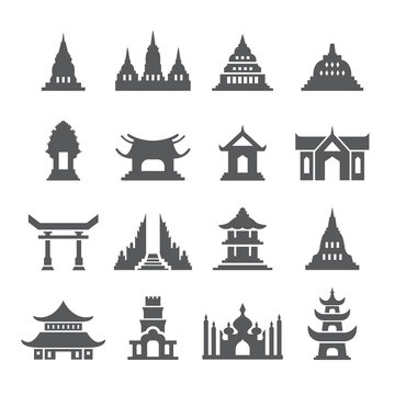 Asia Temple icon set