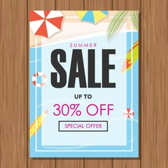 Summer Sale Vector Poster. Special Offer with Beach Background. Promo Marketing, Ad Offer on Shopping. Price, and Label Design