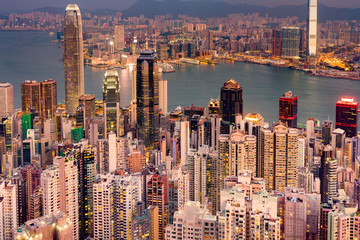 Hong Kong city business downtown night view at the Peak view point, cityscape background