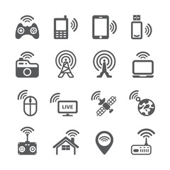 Wireless technology icon set