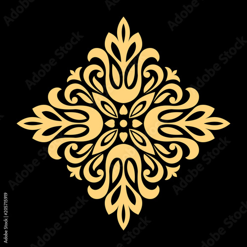 Golden Vector Pattern On A Black Background Damask Graphic