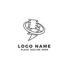 stack of lightning film strip with circle planet logo brand. thunderbolt movie illustration.simple outline style symbol