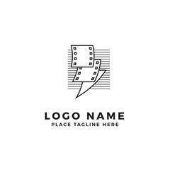 stack of lightning film strip with line stripes logo brand. thunderbolt movie illustration. simple outline style symbol