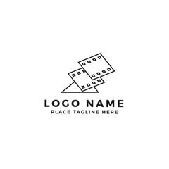 stack of lightning film strip logo brand. thunderbolt movie illustration. simple outline style symbol