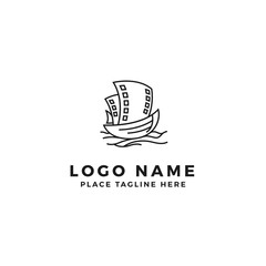boat with film strip sail logo design. movie strip ship illustration. simple outline style symbol.