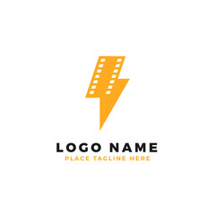 lightning film strip logo brand. thunderbolt movie illustration.