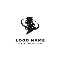 stack of lightning film strip with circle planet logo brand. thunderbolt movie illustration.