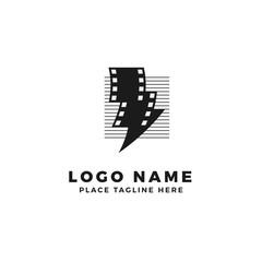 lightning film strip with line stripe logo brand. thunderbolt movie illustration.