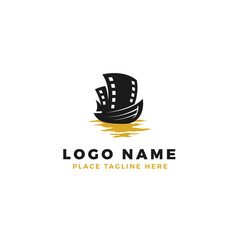 boat with film strip sail logo design. movie strip ship illustration with gold sea.