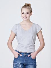 Beautiful young smiling caucasian woman posing
