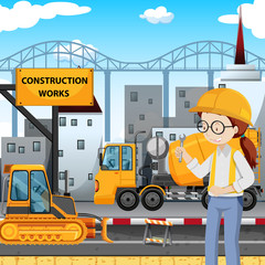 An Engineer at Construction Site