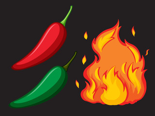 Hot Spicy Chilli and Fire