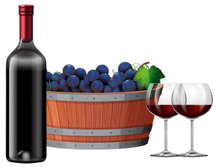 Red wine with a barrell of grapes illustartion