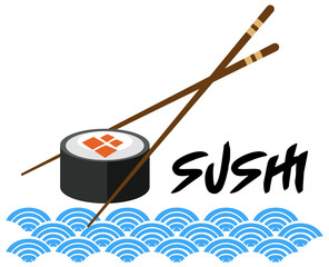 A Japanese Sushi Template on White Background