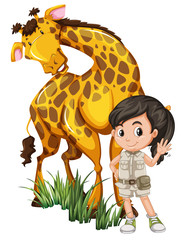 A Safari Girl with Giraffe