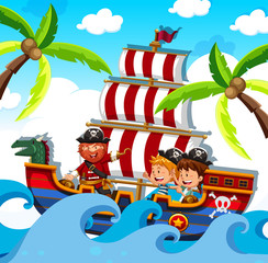 A Pirate with Happy Kids on Ship
