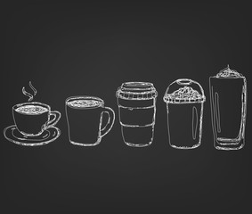 Coffee Drinks cup in hand drawing