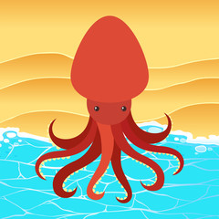Red Octopus on the Beach