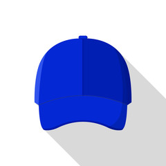 Blue front baseball cap icon. Flat illustration of blue front baseball cap vector icon for web design
