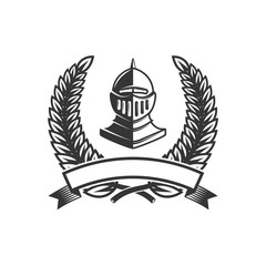 Emblem template with medieval knight helmet. Design element for logo, label,sign.