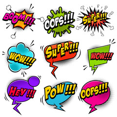 Set of comic style speech bubbles with sound text effects.Design elements for poster, t shirt, banner.
